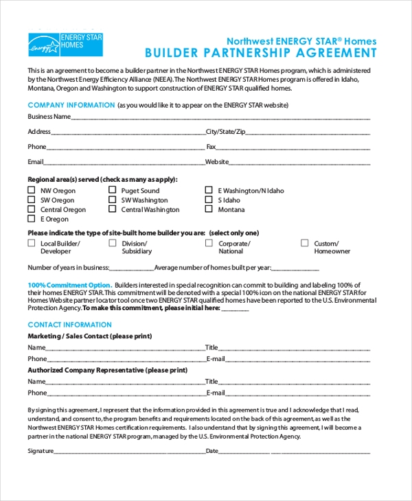 builder partnership agreement