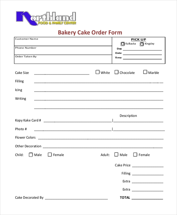 Sample Cake Order Form   Free Documents In Word Pdf