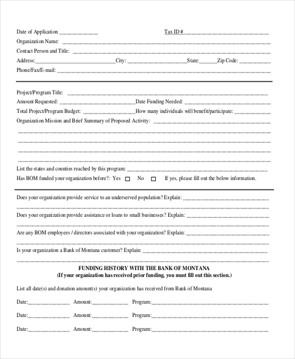 bank donation request form