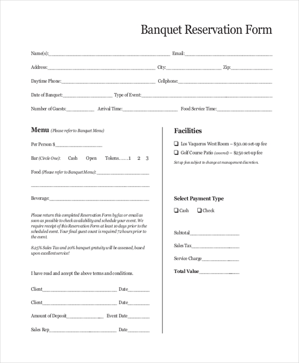 Sample Reservation Form - 20+ Free Documents In Pdf