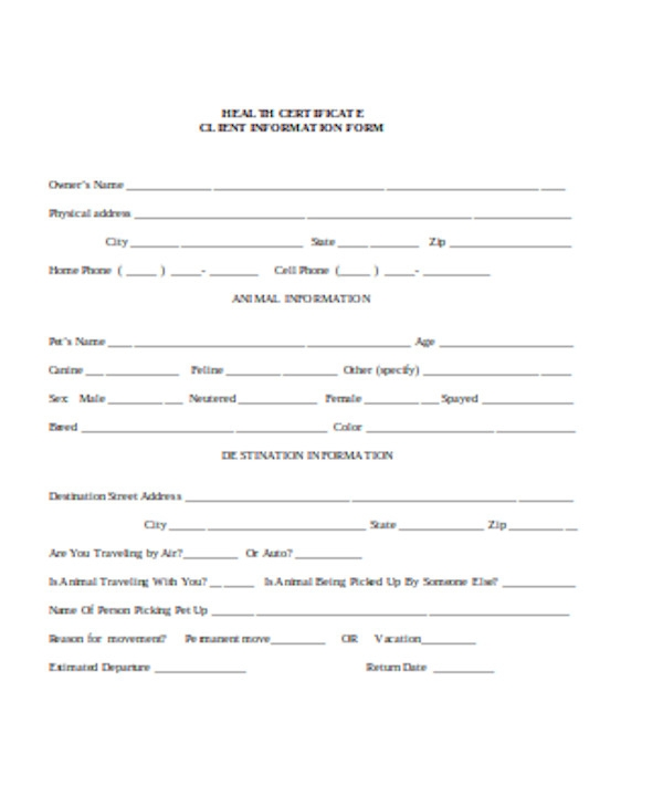 basic health certificate form