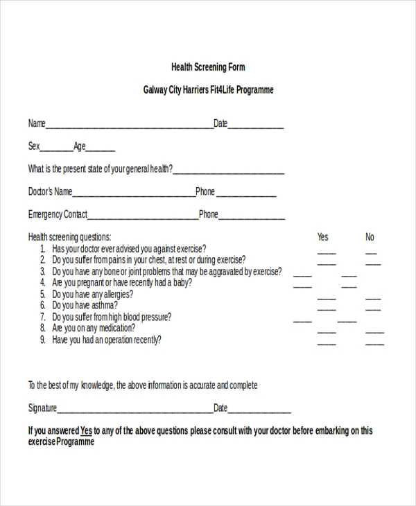 basic health screening form
