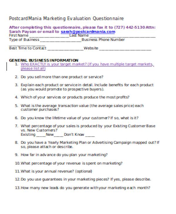 basic marketing evaluation form