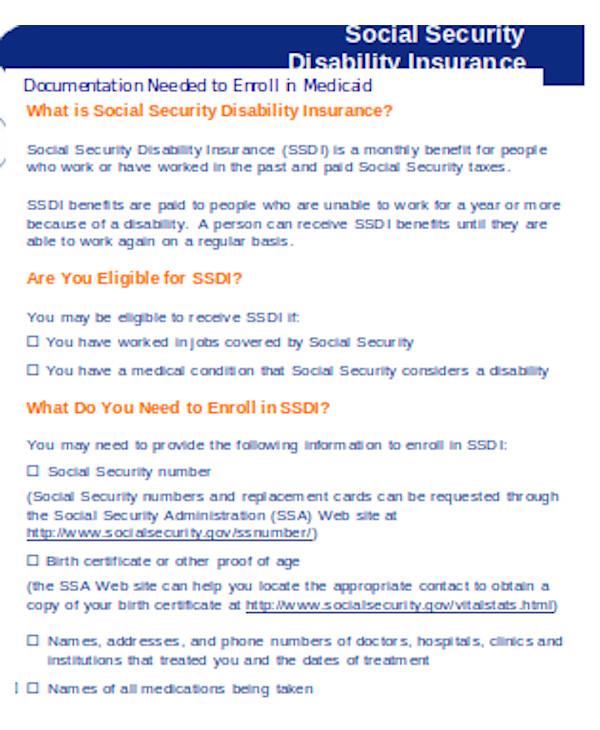 basic social security disability insurance form
