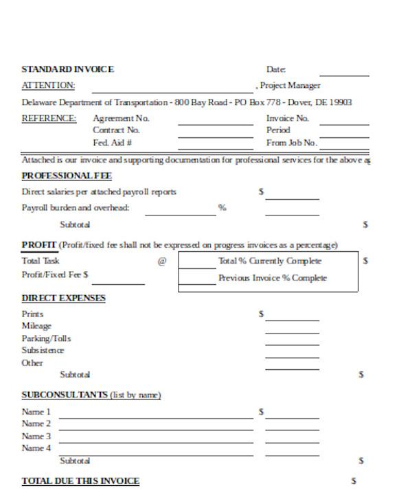 basic standard invoice form