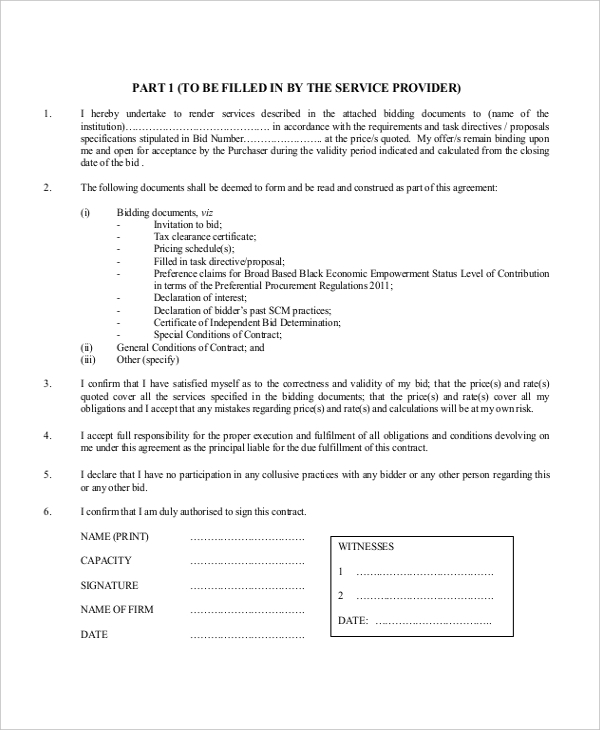 Sample Contractor Form Free Documents In PDF Doc - Blank contract forms