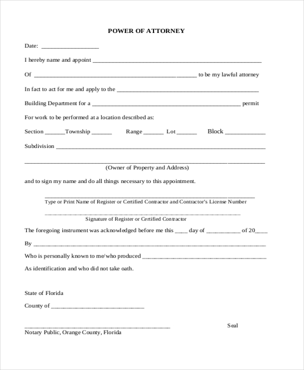 Sample Power of Attorney Form 20 Free Documents in Word PDF – Blank Power of Attorney Form