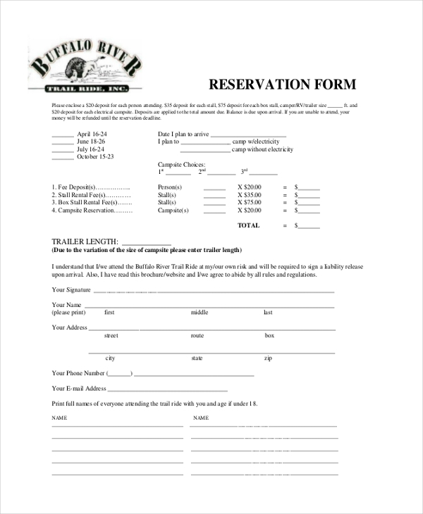Sample Reservation Form   Free Documents In Pdf
