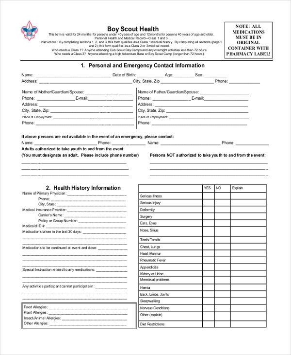 Sample Scout Health Form   Free Documents In Pdf