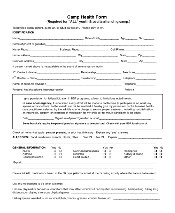 Bsa Health Form Bsa Personal Health And Medical Record Form Sample