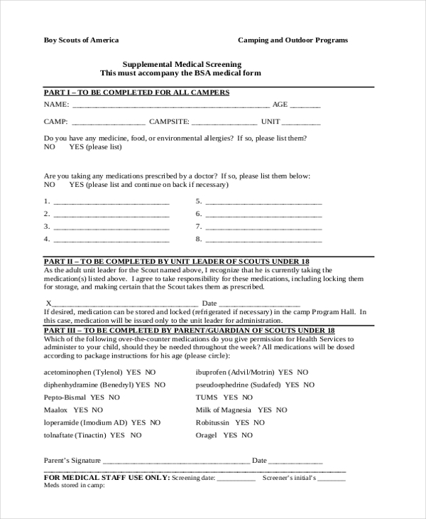 Sample Bsa Health Form   Free Documents In Pdf