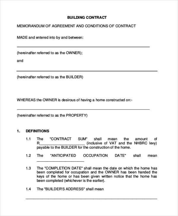 Sample contractor contract form 7 free documents in pdf for Home builder contracts