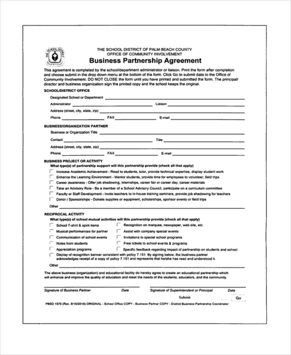 Business Partnership Agreement Form