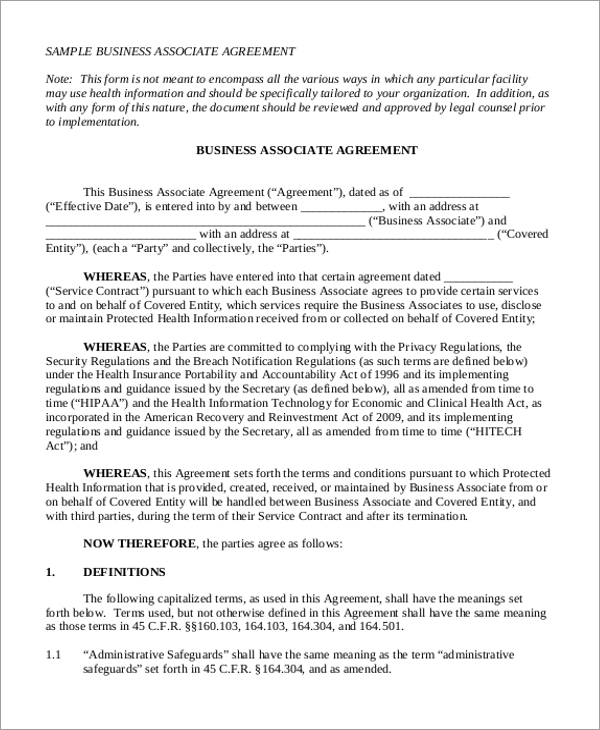 Sample Agreement Form 20 Free Documents in Word PDF – Business Associate Agreement Samples