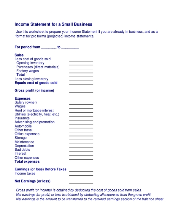 Small Business Income Statement Form  Business Profit And Loss Statement Form