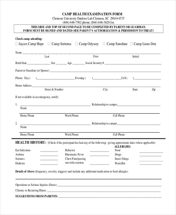 camp health examination form