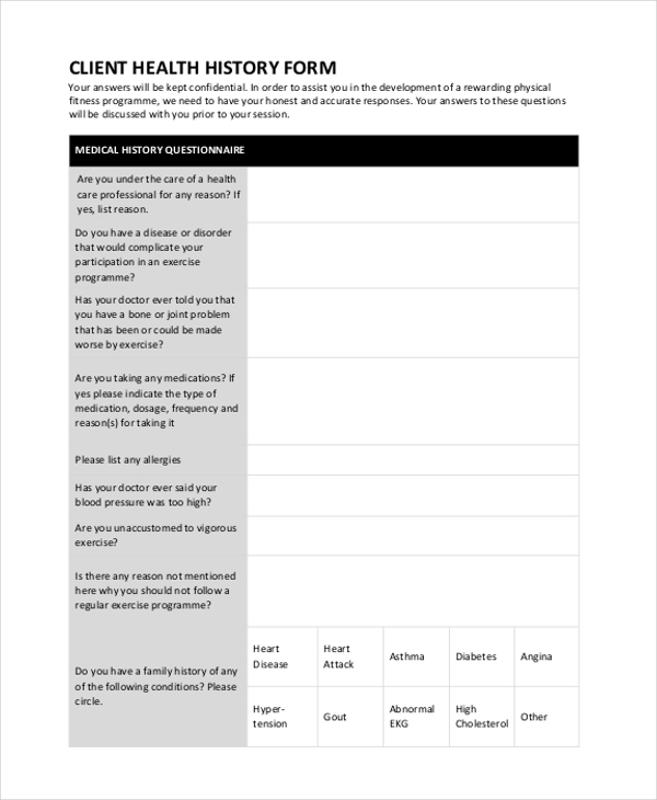 client health history form