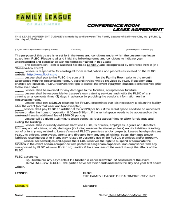 conference room lease agreement