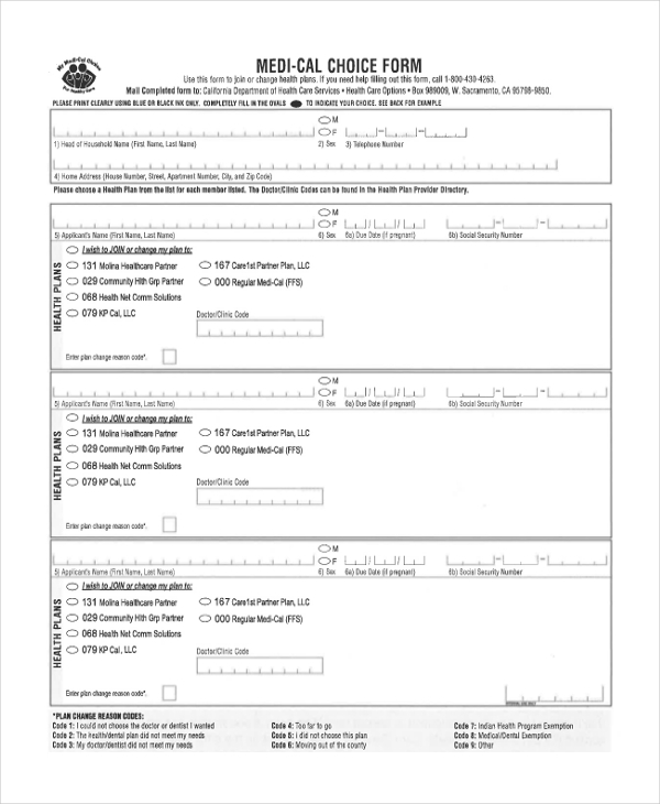 medical choice form Sample Medical Choice Form - 8  Free Documents in PDF