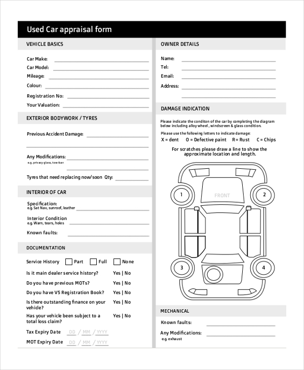 car appraisal form