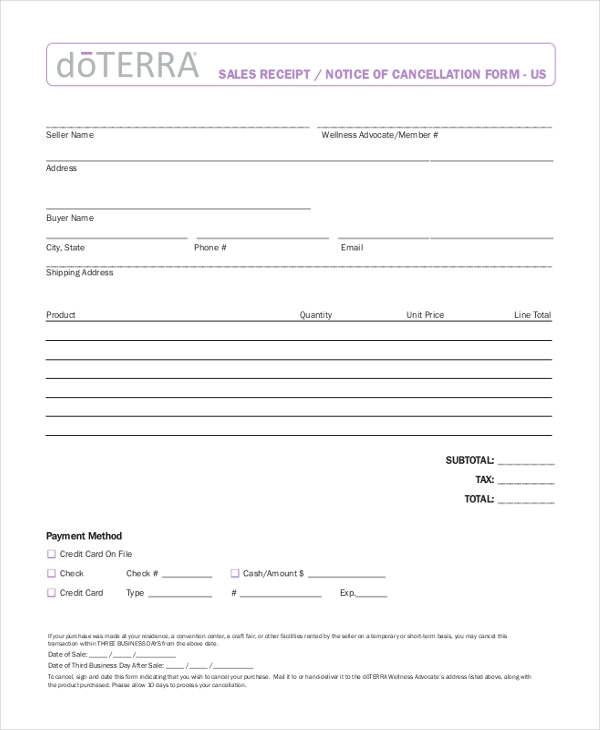 Sample Receipt Form  Free Documents In Pdf