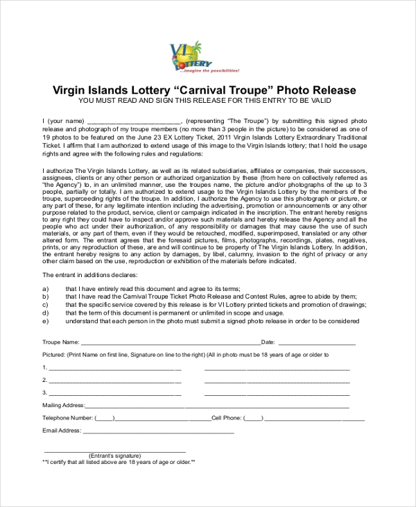 carnival picture release form