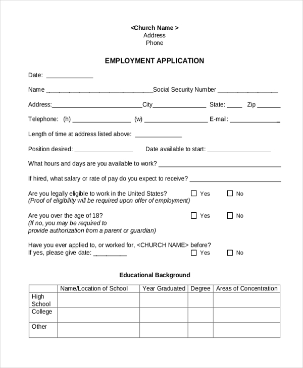 church employeement application
