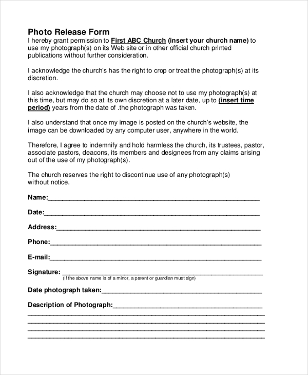 church picture release form