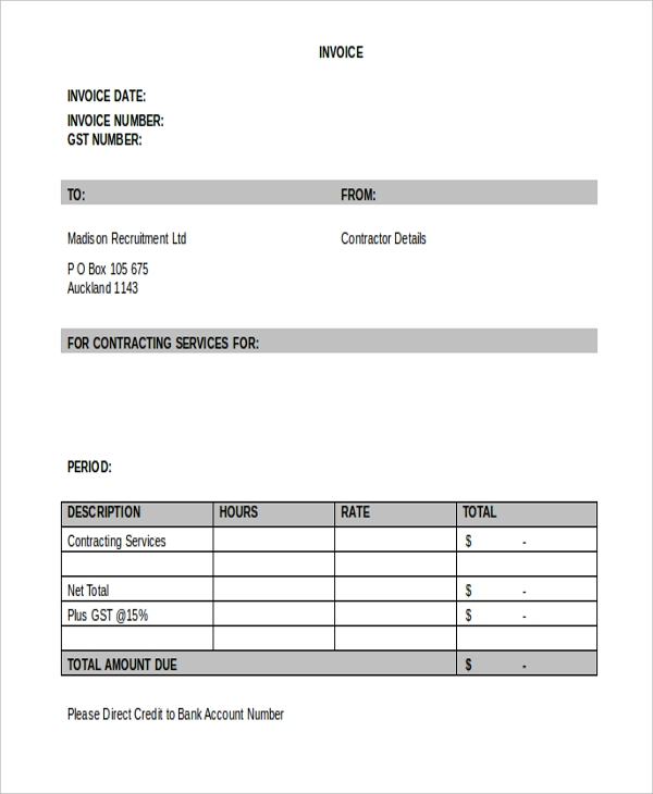 Sample Contractor Invoice Form Free Documents In Word PDF - It contractor invoice template