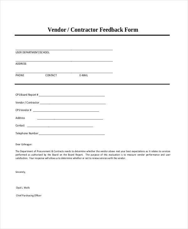 contractor feedback form