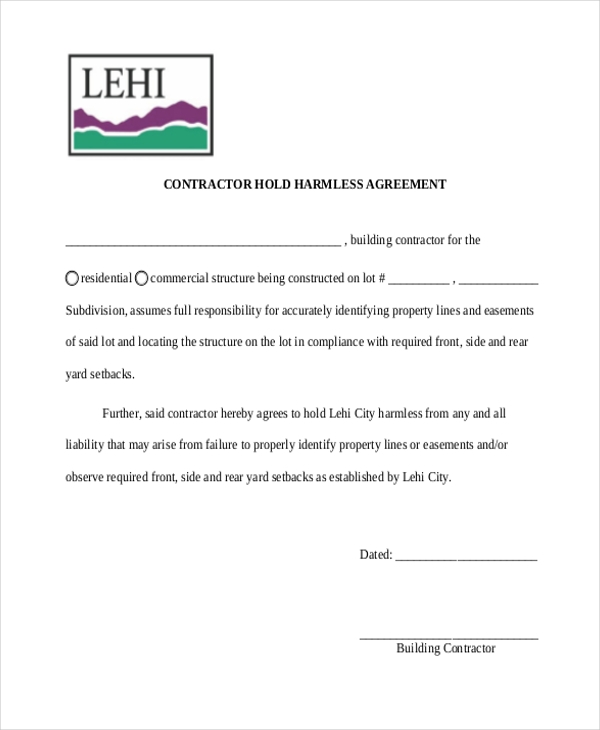 contractor hold harmless agreement