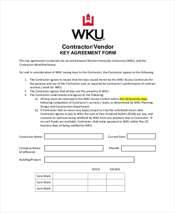 contractor key agreement form