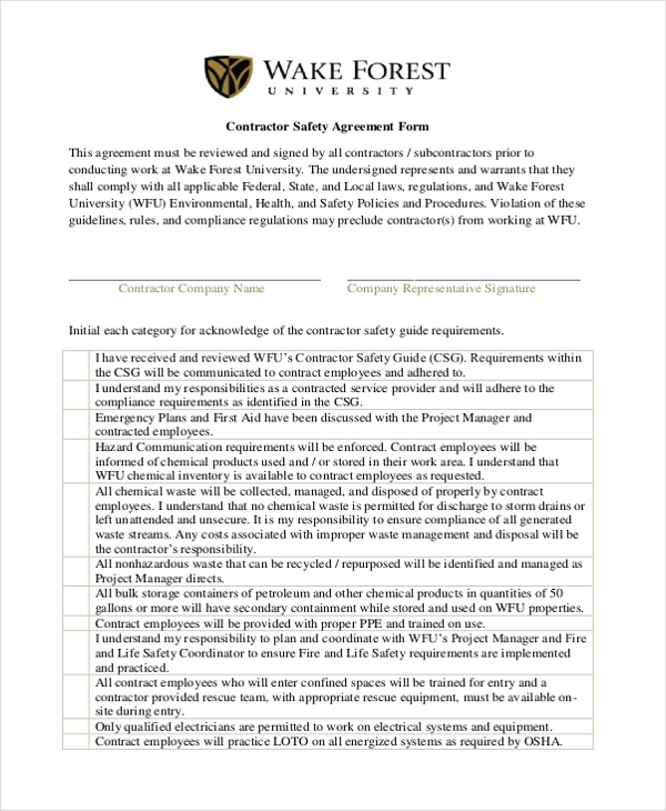 contractor safety agreement form