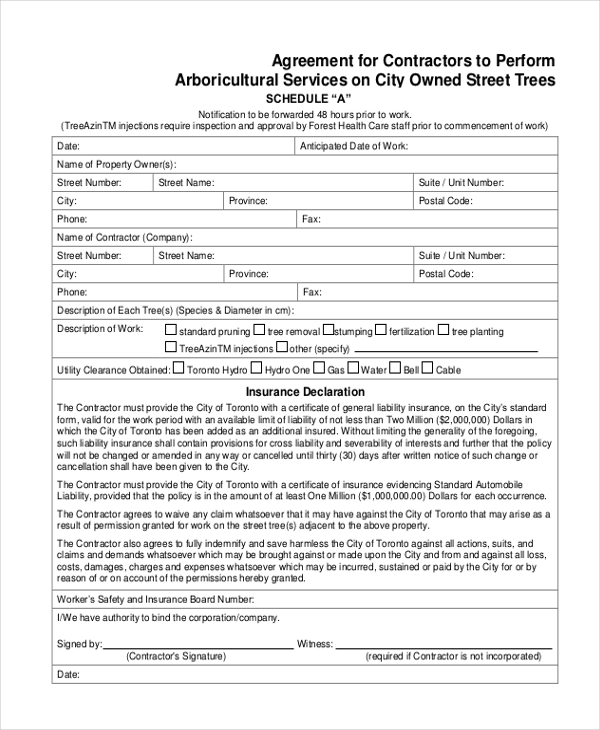 contractor services agreement form