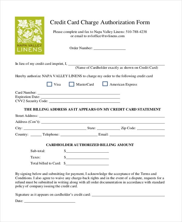 Authorization To Charge Credit Card Template  PetitComingoutpolyCo