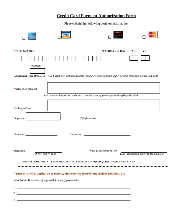 Sample Credit Card Authorization Form 12 Free Documents In Word .  Payment Form Template