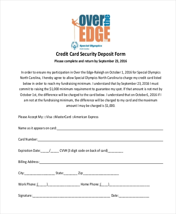 credit card security deposit form