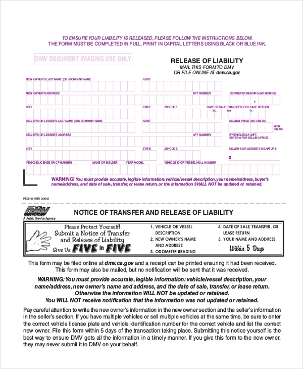 DMV Release of Liability Form