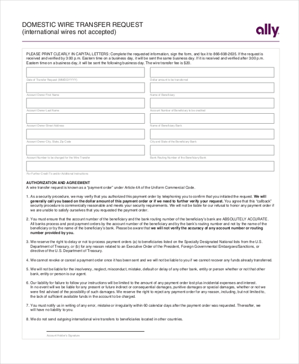 Sample Wire Transfer Form   Free Documents In Pdf