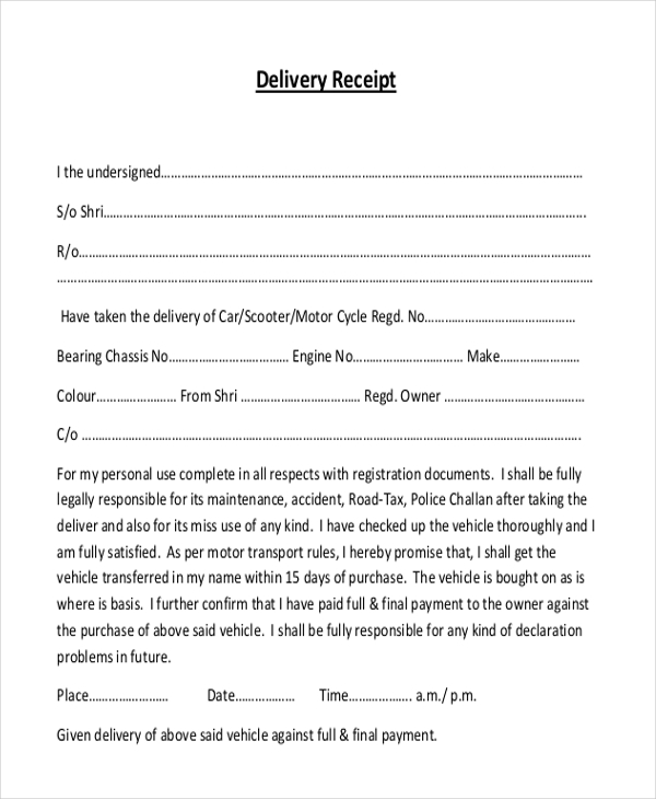 22  sample receipt form