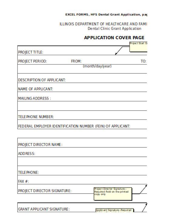 dental clinic grant application form