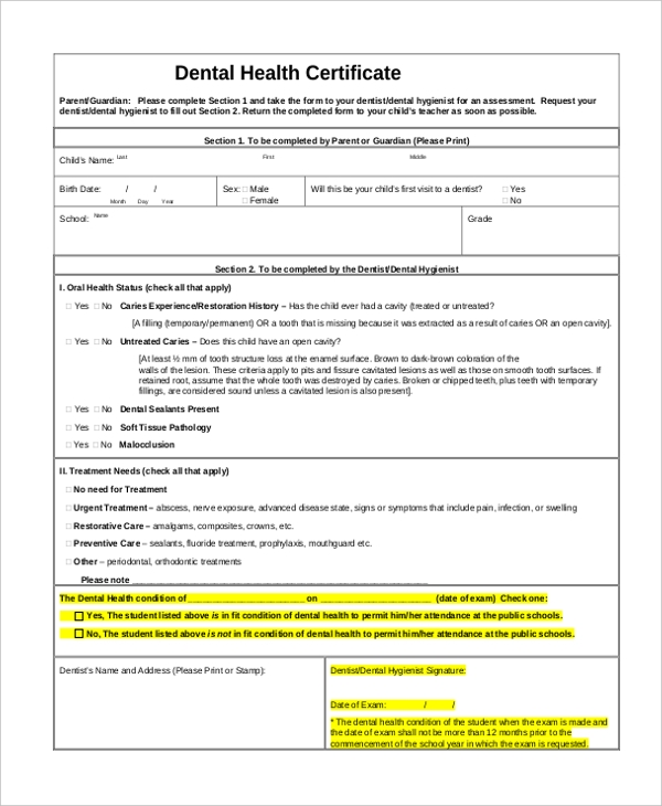 Sample Health Certificate Form - 8+ Free Documents In Pdf