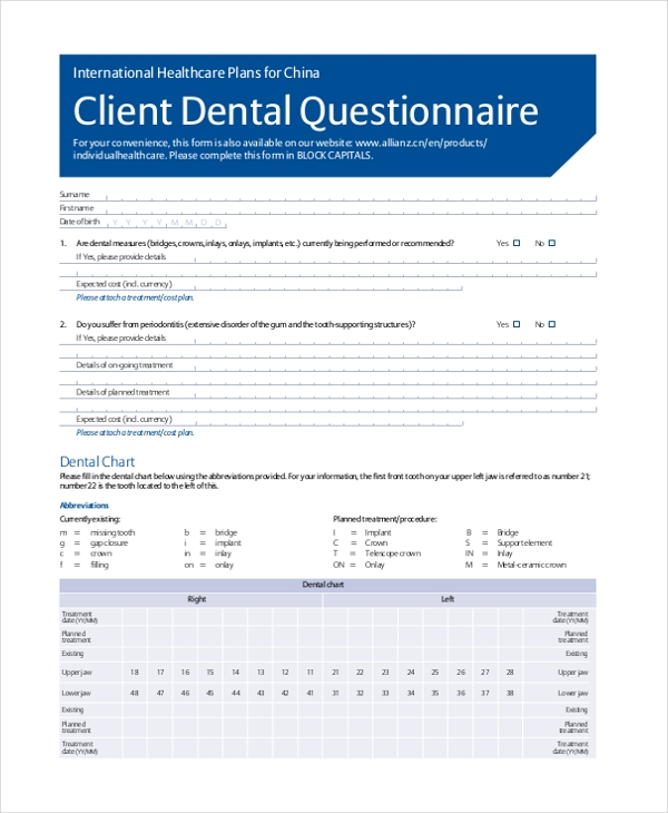 dental questionnaire form