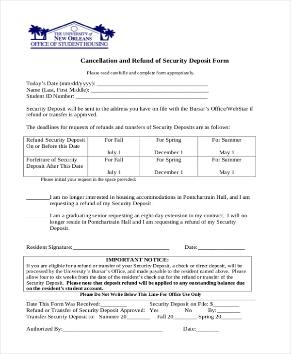 deposit cancellation refund form1