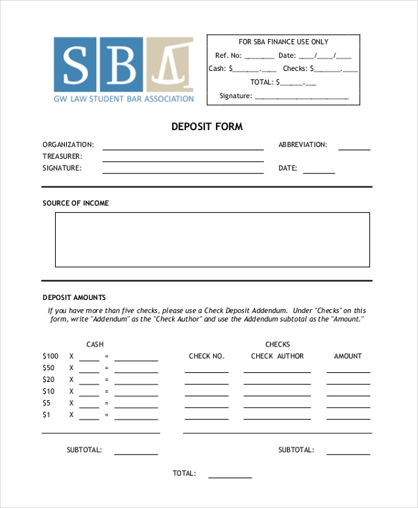 deposit check form1