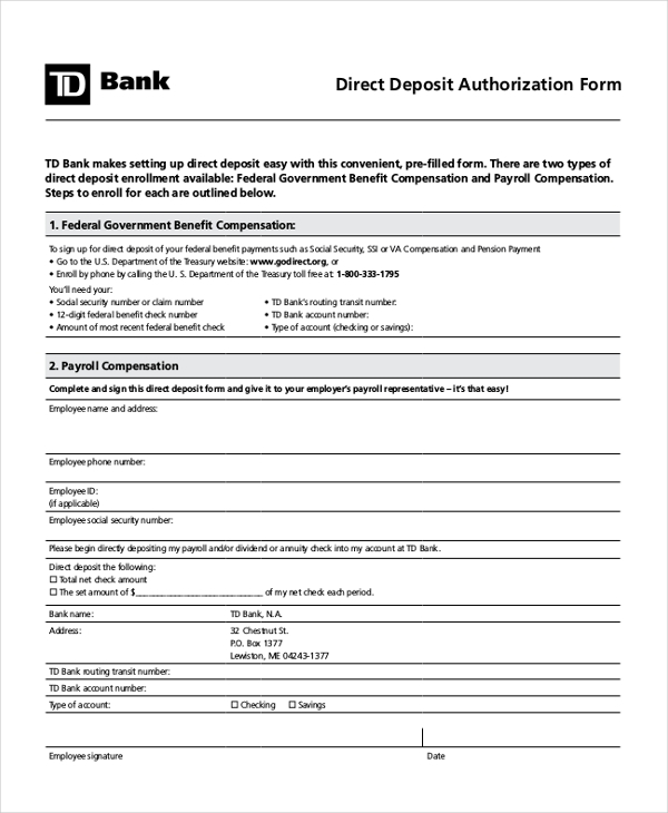 direct deposit form template employee fine screnshoots employer sign