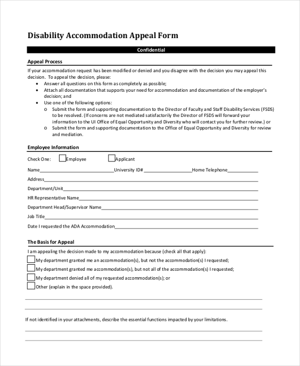 disability appeal form