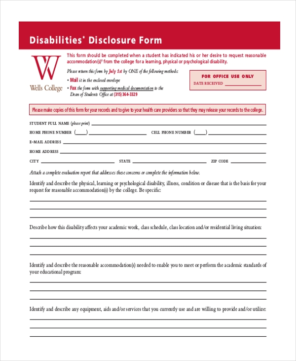disability disclosure form