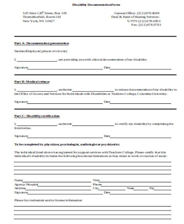 disability documentation form