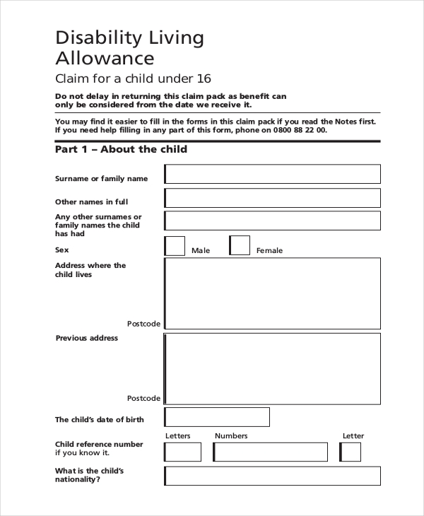 Sample Disability Form - 21+ Free Documents In Pdf
